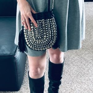 Handbags - festival style studded black drawstring purse